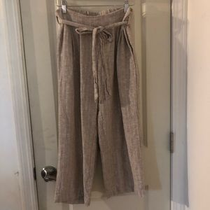 Anthropologie Wide Leg Tie Front Cropped Pants XS